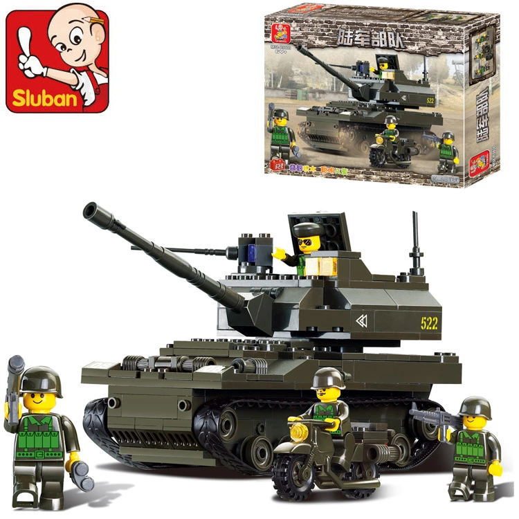 Sluban B9800 Army K9 Tank Motorcycle DIY Model Building Blocks Bricks Toys Gift Compatible with Legoe building Blocks Toy Gift