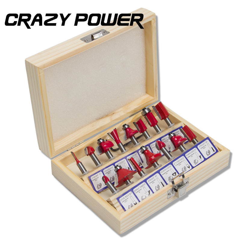 Crazy Power 15Pcs/set  Professional Woodworking Carbide Router Bit Set Milling Cutter 1/4 Shank Wood Carving Engraving Tool Kit [15 pcs router bit set] woodworking milling cutters for wood router woodworking machine free shipping yg8 carbide wooden box