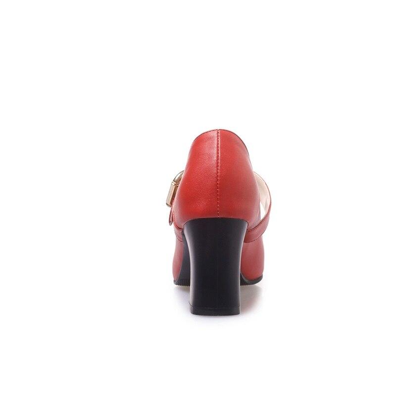 Profonde Quatre Nouvelle Haute Peu caramel Carré Pour Couleurs red Talon Bout Pointu Mode Colour black Chaussures Femmes Pompes Apricot Taille Grande Égérie Boucle Printemps Concise Oqw858