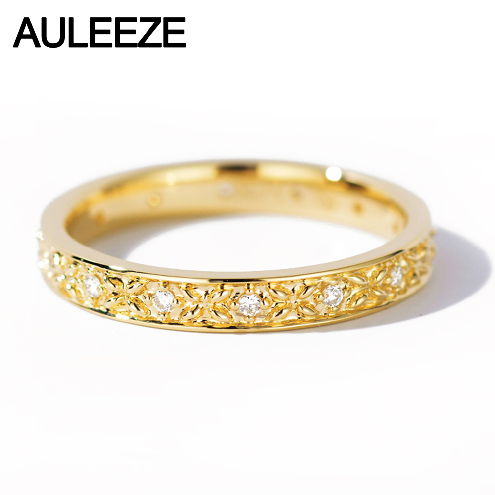 AULEEZE Real Natural Diamond 18k 750 Yellow Gold Wedding Rings Exquisite Pattern Diamond Bands For Office