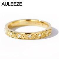 AULEEZE натуральным бриллиантом 18 К 750 желтого золота обручальные кольца изысканный узор Diamond Bands для офисные женские туфли ювелирные изделия