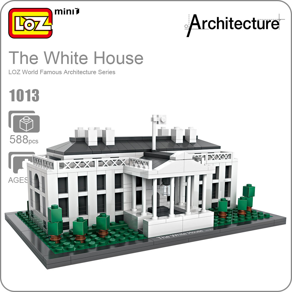 LOZ Building Blocks Architecture The White House Model Educational Toys For Children DIY Plastic Assembly Toys Bricks Kids 1013 world famous architecture 1977pcs wange blocks golden gate bridge model building bricks set diy assembly toys for children 8023