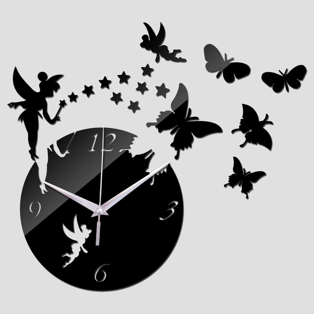 2017 new arrival real wall clock watch clocks diy home decoration cartoon acrylic mirror the stickers living room free shipping