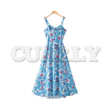 CUERLY women stylish blue print maxi dress back elastic bow tie sleeveless spaghetti strap female A line summer dresses stylish spaghetti strap a line white women s dress