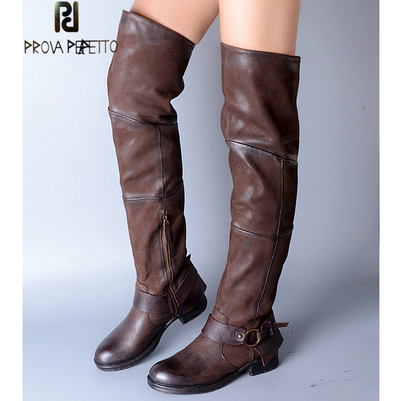 Prova Perfetto Neutral Genuine Leather Over The Knee Boots Winter Warm High Boots Round Toe Zipper