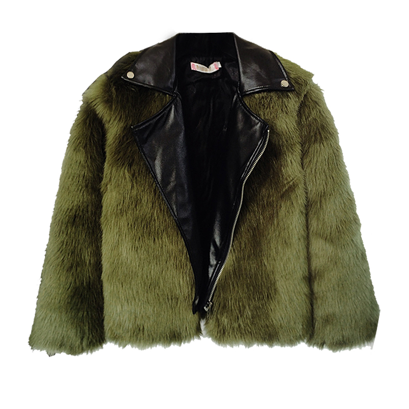Autumn Winter Women Thick Warm Pu Leather Patchwork Faux Fur Coat Women High Waist Jacket New 2017 Green Black Grey Beige