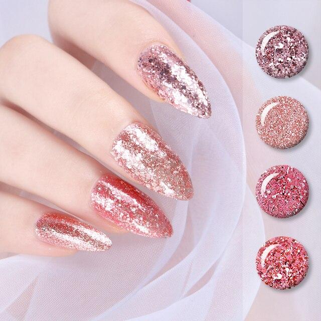 Born Pretty Rose Gold Glitter Gel Nail Polish 5ml Pink Shining Soak Off Uv