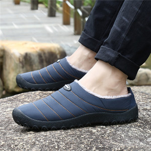 Image 5 - Zimowe męskie buty ciepłe klapki pluszowe mężczyźni odkryty kapcie domowe Unisex klapki antypoślizgowe slajdy Casual Mule chanclas hombre