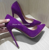 ALMUDENA Suede Pointed Toe Stiletto Heels Dress Pumps Shallow Slip-on 12cm  Ultra High Heel 2a2a8fa1409b