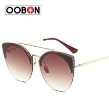 Oobon 2017 new люксового бренда солнцезащитные очки женщины урожай ретро модельер солнцезащитные очки мужчины cat eye солнцезащитные очки óculos