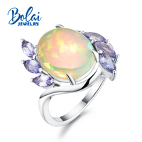 Bolaijewelry,14K white gold ring natural ethiopian opal and tanzanite gemstone ,simple and fashion Ring for girls as best gift