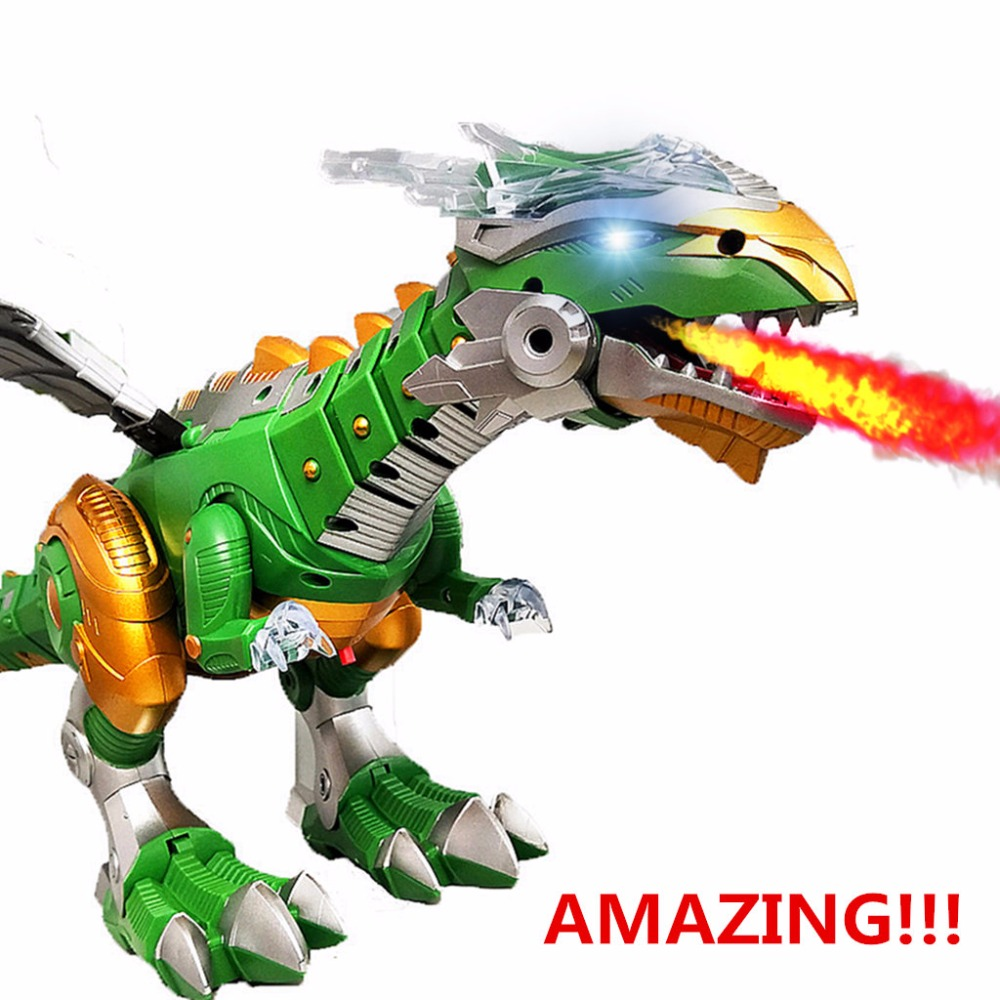 Dinosaur Toys White Electric Walking Spray Dinosaur Robot With Light Sound Dinosaur Toy For Boy Christmas Gift Can Spray Water