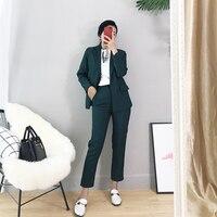 Two piece set top and pants new fashion elegant pioneer temperament suit black dark green suit nine pants women's two piece suit