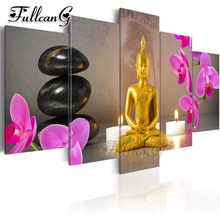FULLCANG diy 5 pieces diamond painting golden buddha black stone flower picture full square/round drill 5d embroidery kit FC845
