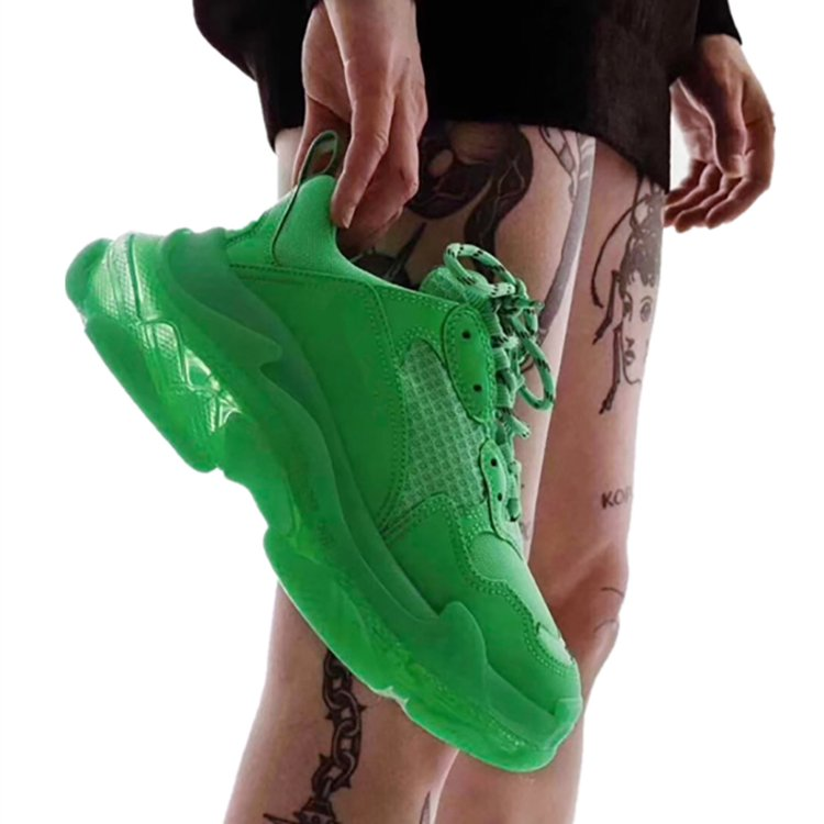 2019 Green Hip Hop Sneakers Women Trendy Chunky Dad Shoes Woman Fashion Thick Sole Ladies Platform Shoe Laces Chaussures Femme(China)