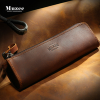 Muzee New Multi Functional Crazy Horse Leather Pencil Bags Men Leather Packet Certificate Package Long Zipper