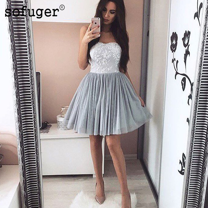 Silver 2019 Homecoming Dresses A-line Sweetheart Short Mini Tulle Lace Appliques Elegant Cocktail Dresses