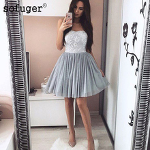 Silver 2019 Homecoming Dresses A-line Sweetheart Short Mini Tulle Lace Appliques Elegant Cocktail