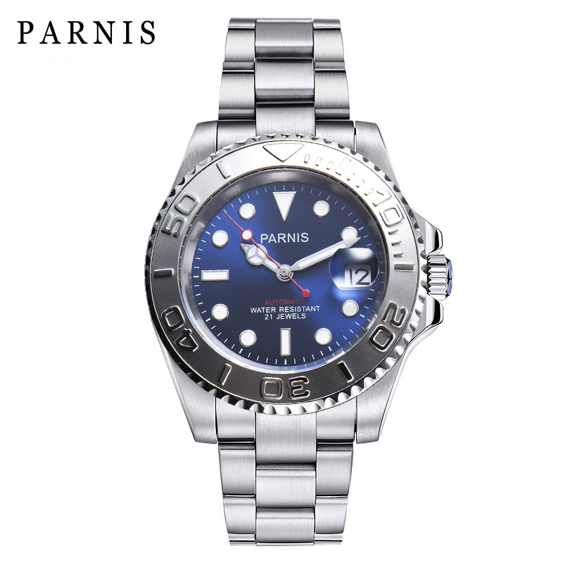 <font><b>Parnis</b></font> <font><b>40mm</b></font> <font><b>Watch</b></font> Men Date Just Miyota 8215 Sapphire Crystal Mechanical <font><b>Watches</b></font> Automatic Waterproof Men <font><b>Watch</b></font> Gifes image