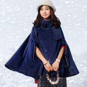 Осень Зима Большой размер женское кашемировое пальто стоячий воротник шерстяное пальто-накидка толстое шерстяное пальто - Цвет: Синий