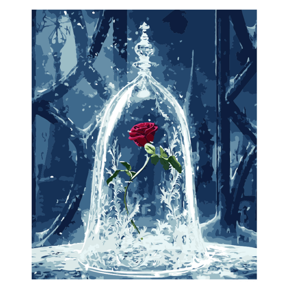 Frameless Canvas Art Oil Painting Flower Painting Design: Frameless Painting By Numbers Rose Digital Oil Painting