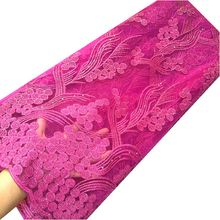 цена Guipure african french lace fabric high quality with stones africa gold lace fabric fushia pink nigerian tulle net lace fabric онлайн в 2017 году