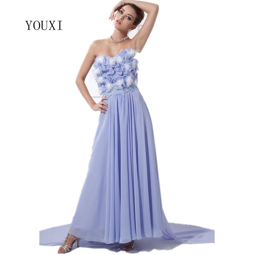 2017 New Arrivals Lavender Chiffon Lace Feather Flowers Long Prom Dresses Beautifulvestido de festa longo