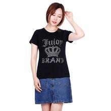 Summer 2017 new high-grade hot drilling women's brand cotton T-shirt fabric cotton T-shirt women's T-shirt women's T-shirt size