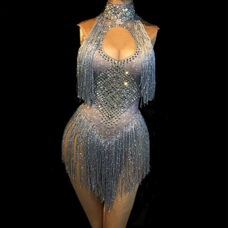 Silver Sleeveless Sparkly Rhinestones Bodysuit Silver Gold Glass Stones Tassels Jumpsuit Sexy Female Nightclub DJ DS Costumes
