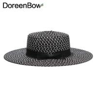 DoreenBow New Fashion Summer Large Brim Straw Hat For Women Men Brim Sea Beach hats Couples Travel Sun Knot Bow hat Black 1Piece