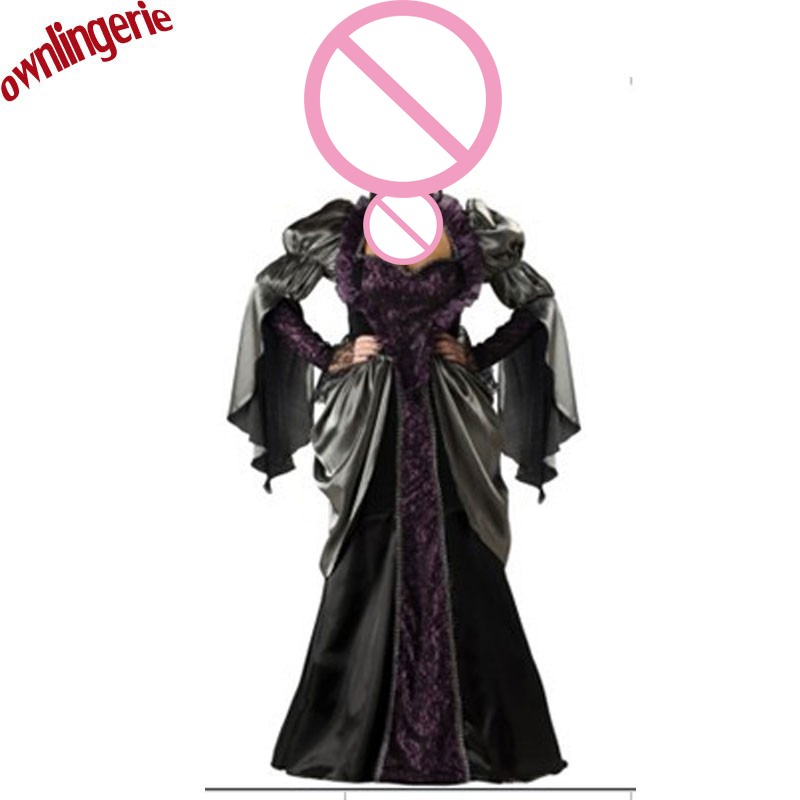 Free shipping Luxury Red and Black Medieval Gothic Fancy Dress Vampire Witch Costume Robe Hooded Adult Women Plus Size xxxl