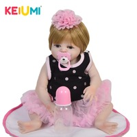 New Design 48 cm Vinyl Doll Reborn Menina Full Silicone Waterproof 19 inch Reborn Babies Doll Gold Hair For Kids Birthday Gift