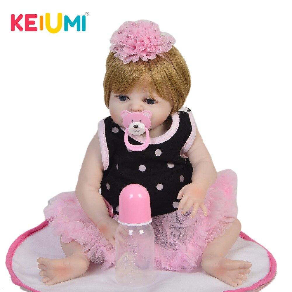 Nuevo diseño 48 cm muñeca de vinilo Reborn Menina completa de silicona resistente al agua 19 pulgadas Reborn baby Doll pelo dorado para niños regalo de Cumpleaños-in Muñecas from Juguetes y pasatiempos    1