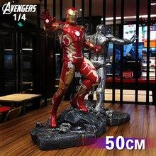المنتقم MK43 الرجل الحديدي 1/4 مقياس كامل الجسم 50 سنتيمتر تمثال ديكور المنزل تحصيل عمل الشكل الراتنج تمثال هدية للرجال الصبي