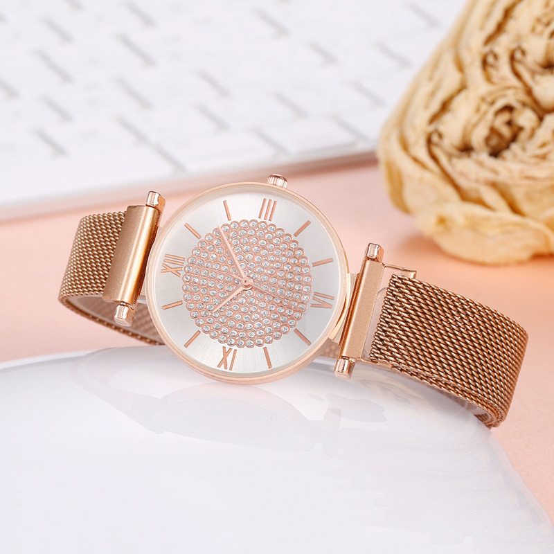 Ladies Quartz Dress Wristwatches Fashion Women Rose Gold Watch Luxury Crystal Magnet Waterproof Bracelet Clock Relogio Feminino