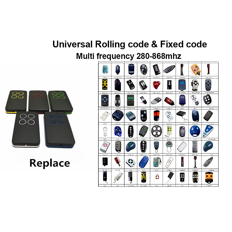 Garage Door Remote Control Universal Car Gate Cloning Rolling Code Remote  Duplicator Opener Key Fob 433Mhz 315Mhz 430Mhz Fixed C