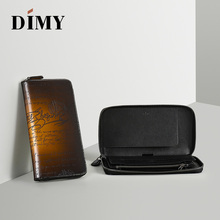 DIMY NEW PATINA Genuine Leather Mens Wallets Cowhide Clutch Bags Handmade Casual Vintage Zipper Male Purse Holders Wholesalers