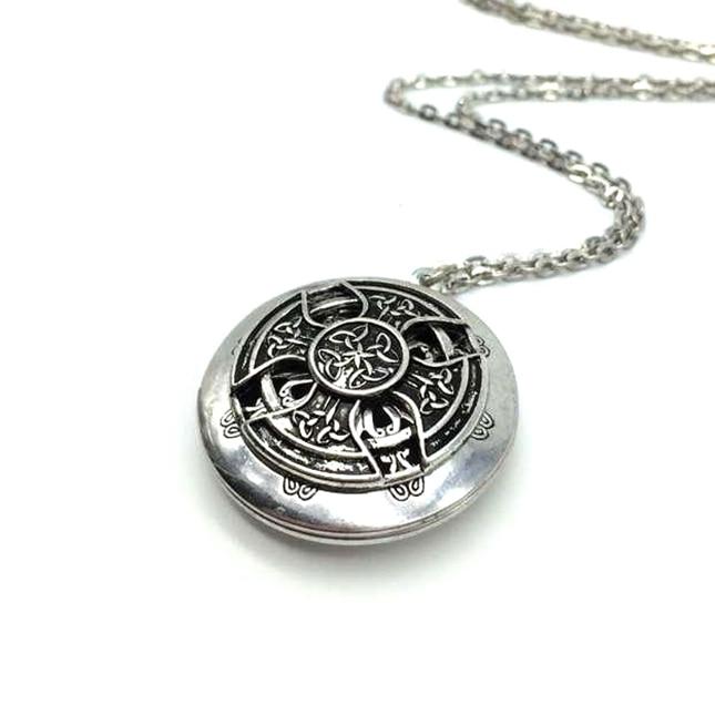 Exclusive Design Antique Silver Celtics Knot Cross Pendant Celti Locket Diffuser Necklace Essential Oil Locket