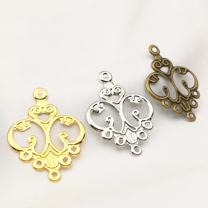30 Pcs/lot 31mmx24mm Gold Color/Antique Bronze/White K Metal Filigree Flowers Slice Charms Base Setting Jewelry DIY Components
