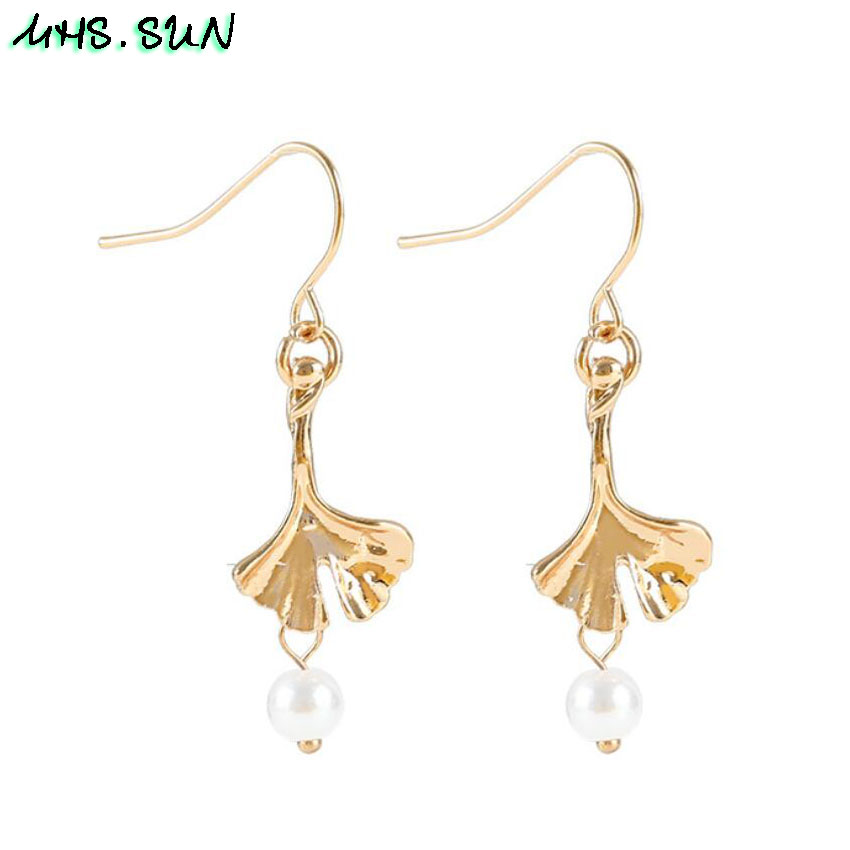 15-2Fashion Design Leave Pearl Drop Earrings Gold Color Girls Trendy Elegant Dangle Earrings Charm All-Match Jewelry 1Pair