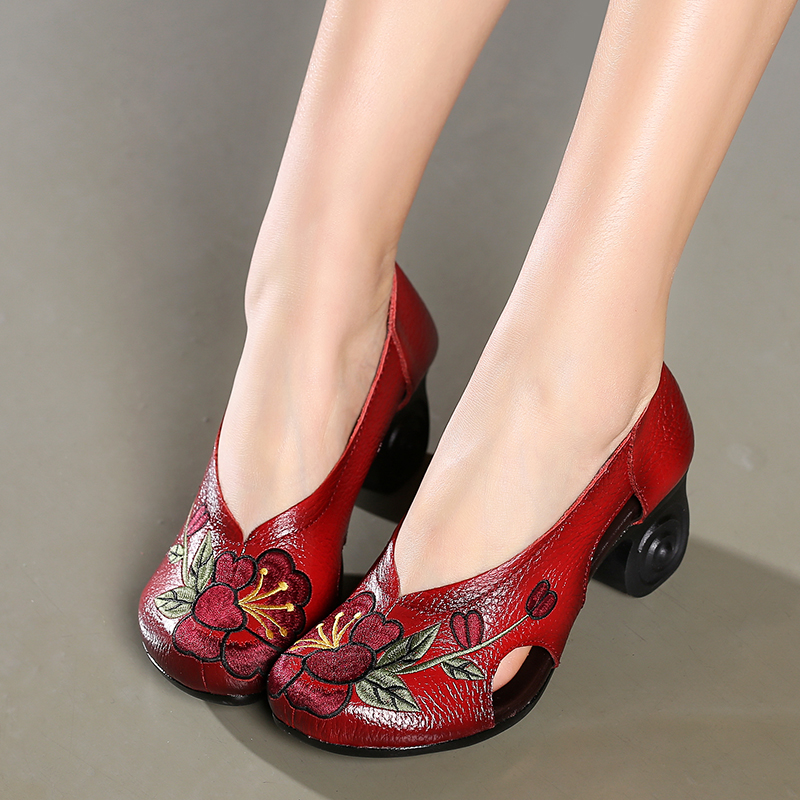 ФОТО High Heels Women Shoes Embroidered Soft Mother Shoes Genuine Leather Shoe Sys-1108