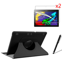 4in1 Rotating 360 Degree Luxury Folio Stand Rotary Leather Case Cover +2x Films +1x Stylus For Lenovo Tab 2 A10-70 Tab2 A10-70F