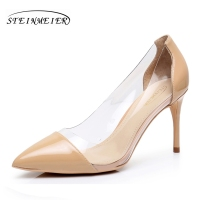 Women High Heels Sexy Thin 8 5cm Patent Leather Transparent Glass Nude Pink Black Pumps For