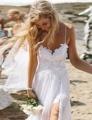 Don's Bridal Side Slit Spaghetti Straps Tulle Netting Beaded V-neck Sleeveless Sex Beach Wedding Dresses 2016
