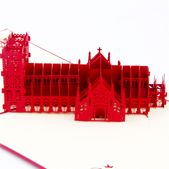 Excusive Westminster Cathedral Handmade Creative Kirigami & Origami 3D Pop UP Greeting & Gift Cards цена и фото