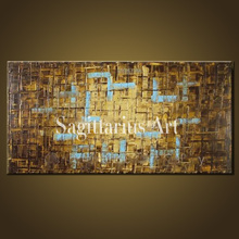 Hand Painted Modern Thick coating Palette Knife Painting Brown Metal Wall Art Abstract Oil Painting Canvas Wall Living Room Art