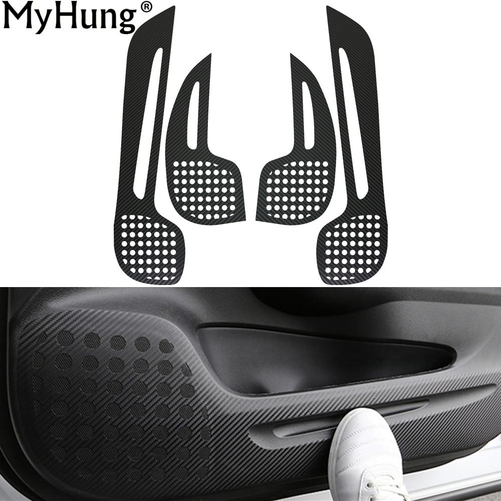 Cojín de la etiqueta engomada de la puerta del coche para Honda CRV 2012 a 2016 Interior de la puerta Etiqueta de protección de fibra de carbono 4 piezas Car-styling accesorios