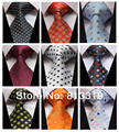 Bolinhas de cor 100% Silk New tecido Jacquard clássico do homem gravata do laço