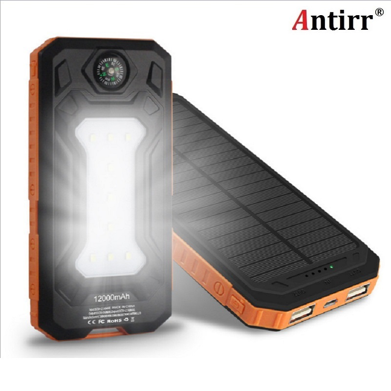 Universal Ultra Thin <font><b>12000mAh</b></font> Solar Portable Power Bank with LED Light External <font><b>Phone</b></font> Charging Battery With Compass Powerbank image