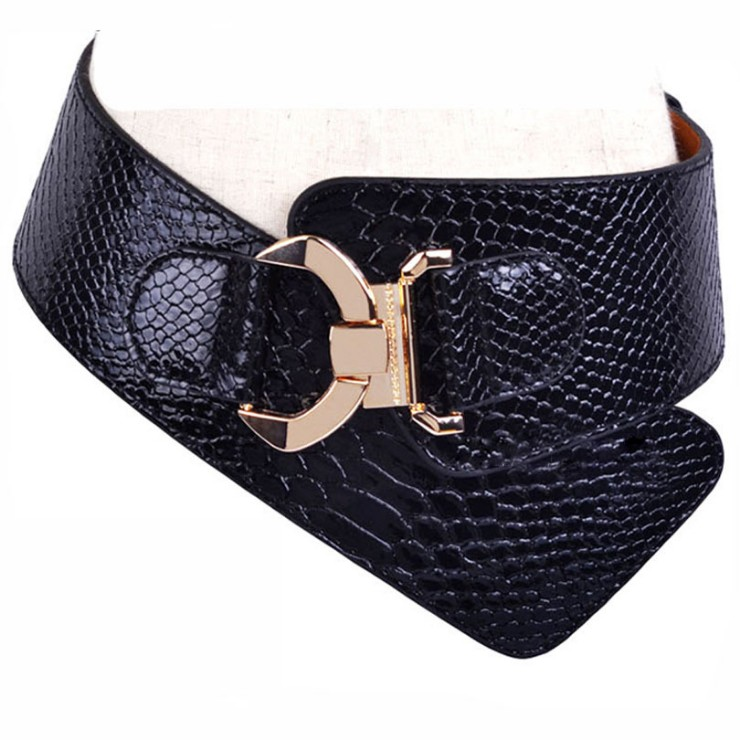 Free Shipping New Fashion Punk Elastic Waist Belt Width Women Crocodile Pattern Cummerbund Leather Wide Strap Buckle Cummerbunds